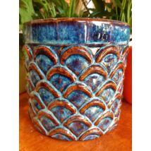 Carpio hengerkaspó antikolt kék-barna 12x9,5 cm
