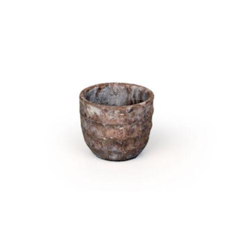 Rustic kőkaspó antikolt barna 17,5x16,5 cm