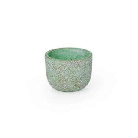 Saigon cement kaspó antikolt zöld 16x12,5cm