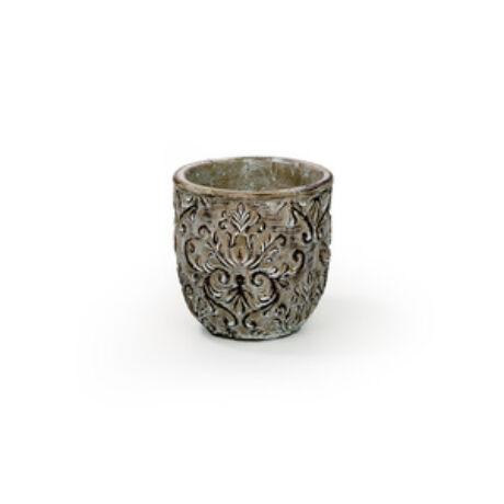 Toscana cement kaspó antikolt barna 14x13 cm