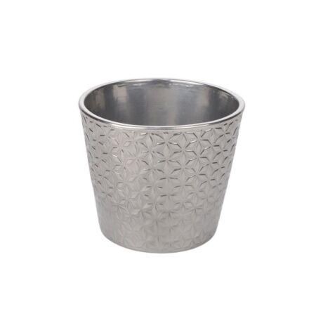 Star kerámia kaspó ezüst - 12 cm