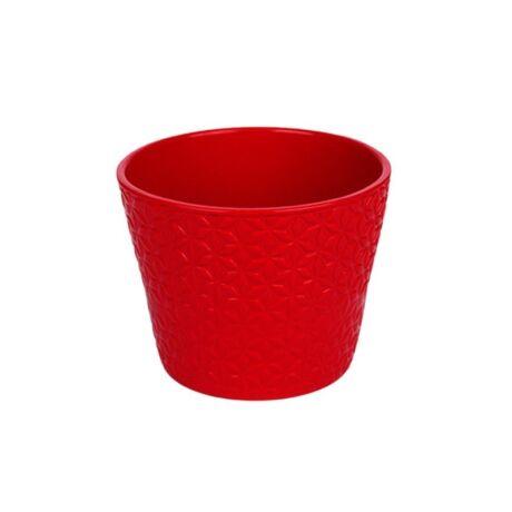 Star kerámia kaspó piros - 12 cm
