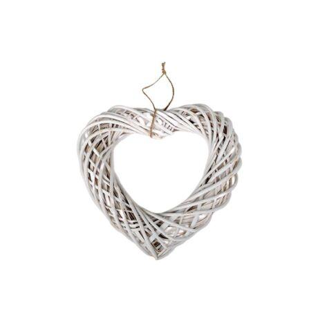 Akasztós vessző szív, fehér, 45x45x10 cm