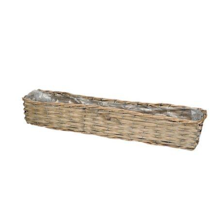 Hasított fa hosszított tégla tál, szürke, 58x12x9,5 cm